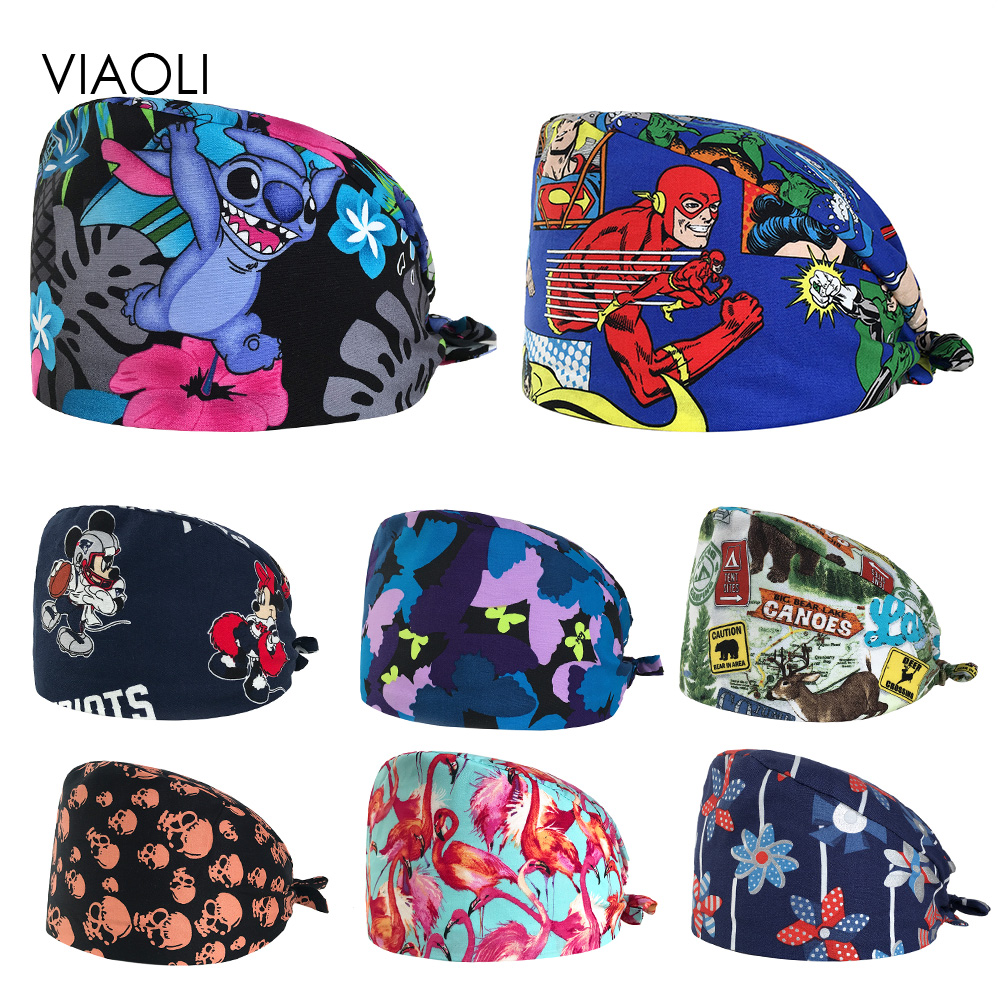 Surgical Cap Male And Female Doctors Nurses Hats Operating Room Hats Dentistry Beauty Work Hats Printing Gourd Hats
