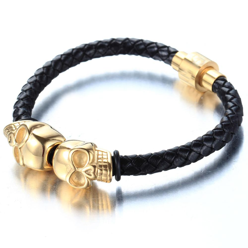 Fashion Braided Leather Bracelets Punk Wrap Gold Color Skull Bracelet Stainless Steel Magnetic Buckle Fashion Bangles in Chain Link Bracelets from Jewelry Accessories