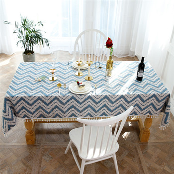 Party Restaurant Dinning Kitchen Wedding Rectangular Tablecloth Dustproof Waterproof Cotton Tablecover Thick Wavey Tassel image