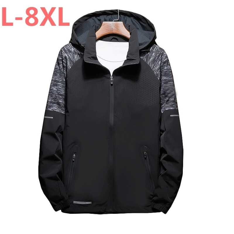 큰 사이즈 8XL 7XL 6XL 새로운 도착 봄 남성 자켓 패션 코트 남성 캐주얼 슬림 후드 칼라 자켓 남자 Outerdoor