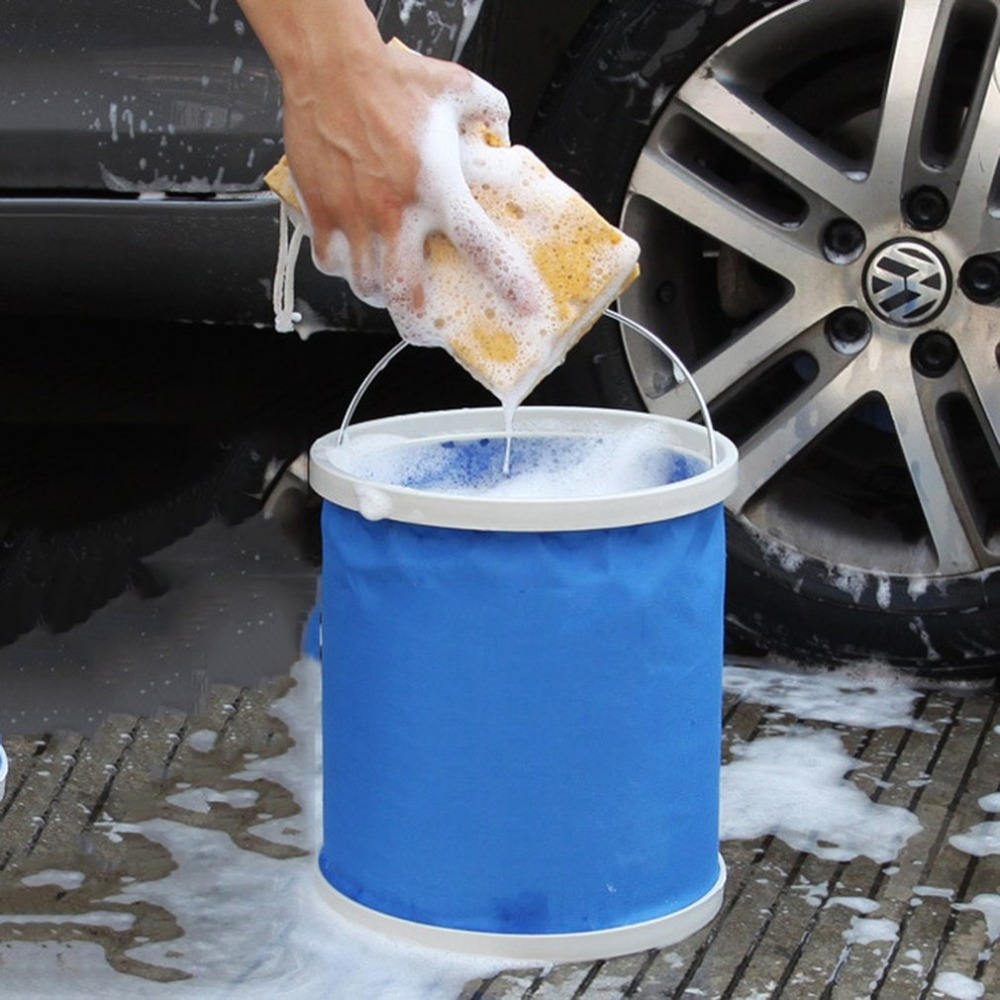 9L Portable Folding Oxford Water Bucket Multifunctional Retractable Car Wash Bucket Outdoor Camping Fishing Bucket|Car Washer| |  - title=