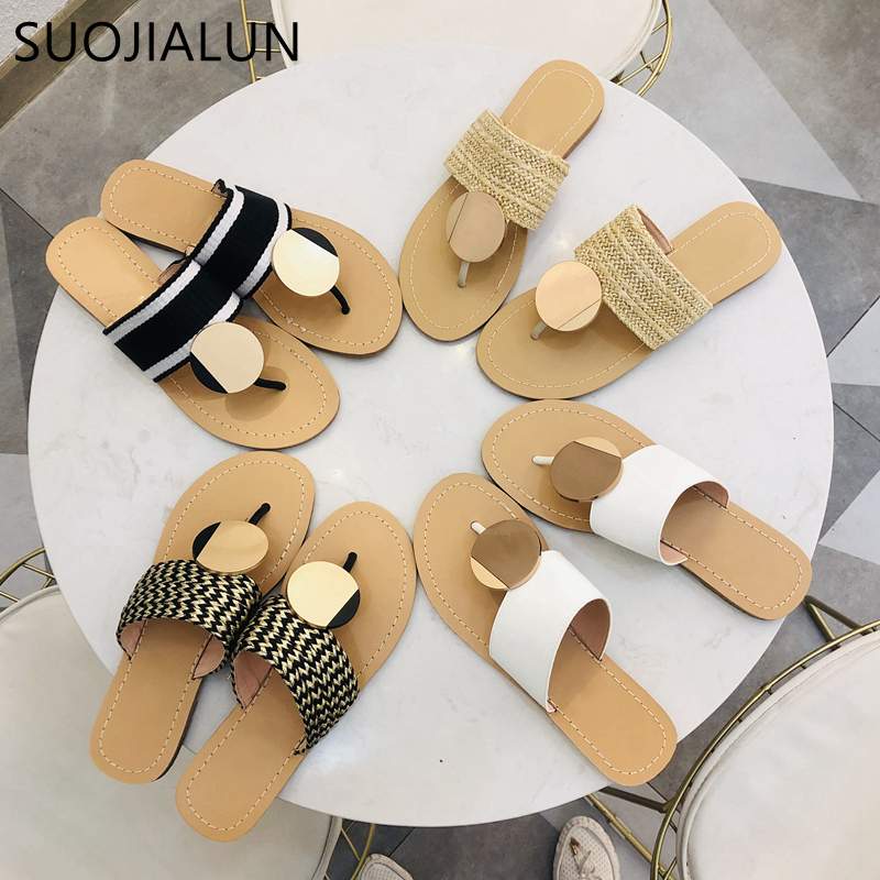 SUOJIALUN Women Summer Beach Slipper Fashion Metal Flat Heels Slippers Ladies Summer Women Sandal Slip On Causal Flip Flop