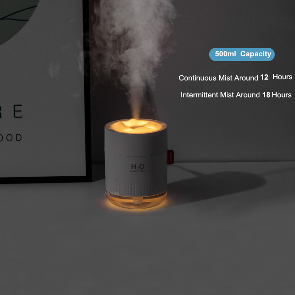 White Snow Mountain Humidifier 500ML Ultrasonic USB Aroma Air Diffuser Soothing Light Aromatherapy Humidificador Home Difusor