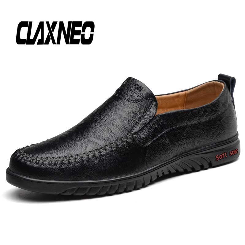 CLAXNEO Man Moccasins Leather Shoes Male Casual Loafers Breathable Mens Boat Footwear Soft Big Size