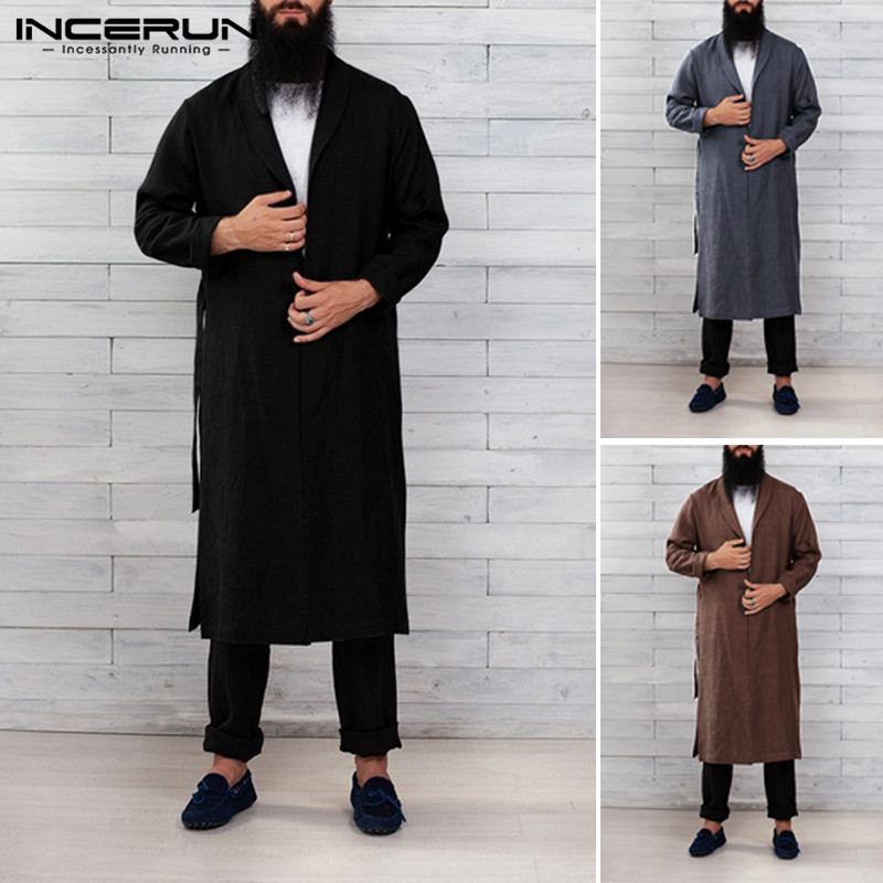 INCERUN Fashion Comfort Cotton Men Solid Lapel Long Sleeve Nightgown Mens Bathrobe Casual Belt Dressing Gown Homewear Pajamas