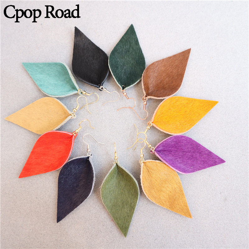 Cpop New Solid Color Genuine Leather Feather Earrings Elegant Leaf Pendant Dangle Earring Fashion Jewelry Women Accessories Gift