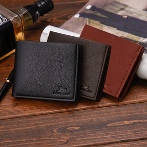 Men Wallets Retro Lichee PU Small Wallet Two Folding Male Coin Purse Credit Card Holder Solid Color Mini Bag Casual Clutch 19Dec