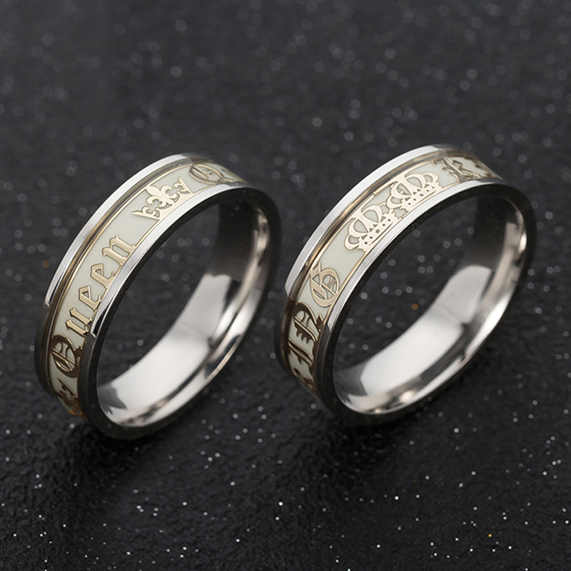 Luminous Titanium Steel Couple Ring Golden Crown Her King His Queen Husband and Wife Jewelry Anniversary Valentine's Day Gift