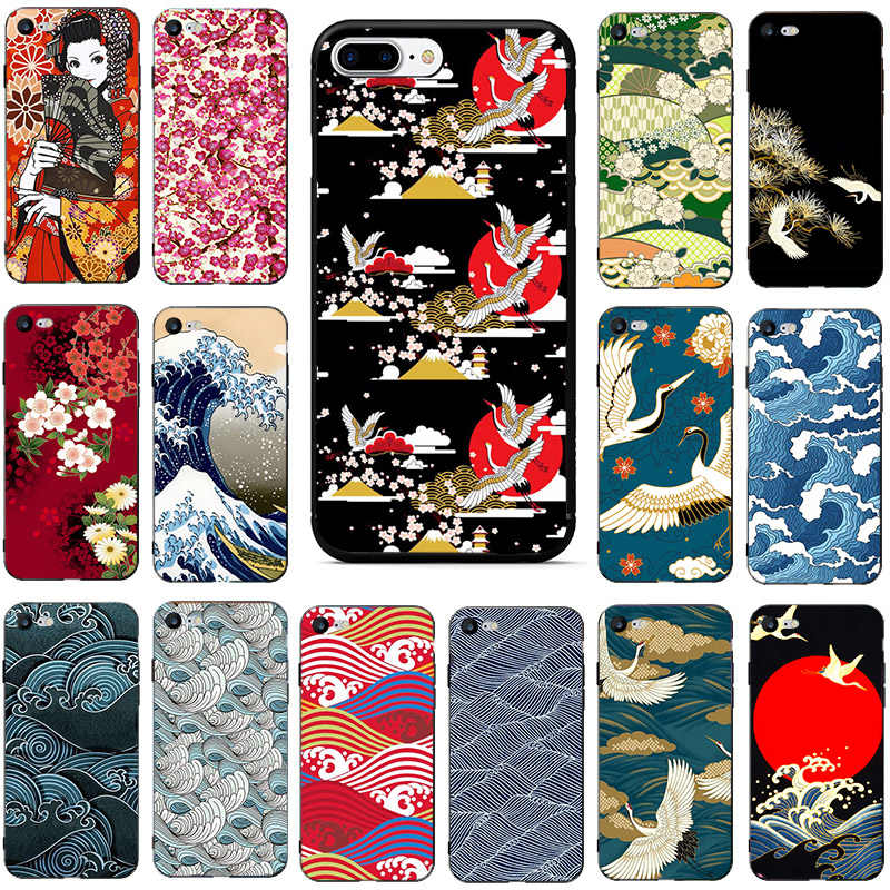 Japanese Vintage Wallpaper Phone Case For Iphone 6 Plus 7 8 8plus 11 Pro X Xs Xr Max 5 5s Se 2020 Soft Tpu Back Cover Coque Capa Phone Case Covers Aliexpress
