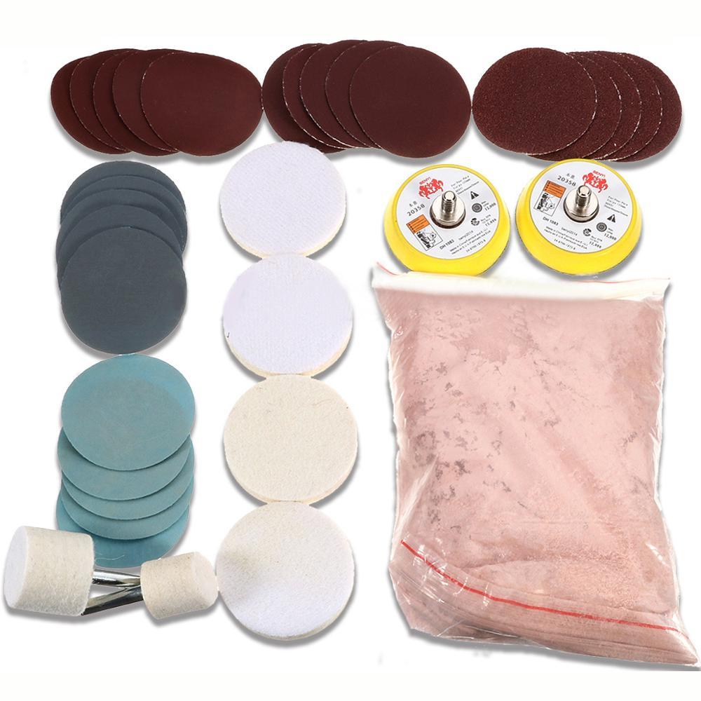 34pcs/Set Deep Scratch Remove Glass Polishing Kit 8 Oxide Cerium Sanding  Disc + Wool Polishing Pad For Windscreen Windows