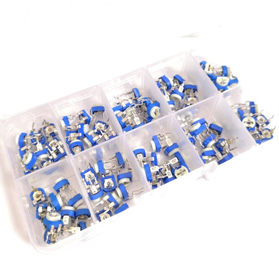 Unids/caja 100 RM065 Resistor ajustable potenciómetro Kit 500 - 1M Ohm multigiro Trimmer potenciómetro conjunto resistencias variables Kit