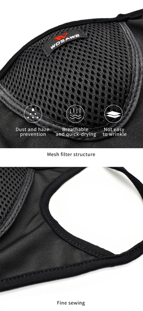 WOSAWE Washable Reusable Motorcycle Face Mask with Mesh Filter Breathable Mouth Covers Anti-dust Anti-smog Face Shield Outdoor 3