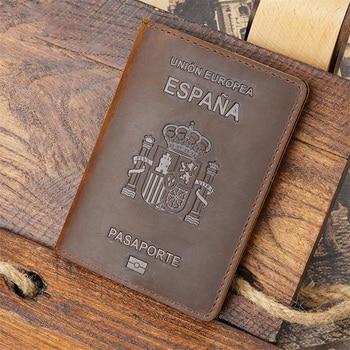 Personalised Genuine Leather Spain Passport Cover Crazy Horse Funda Pasaporte Business Unisex Durable Spanish 1