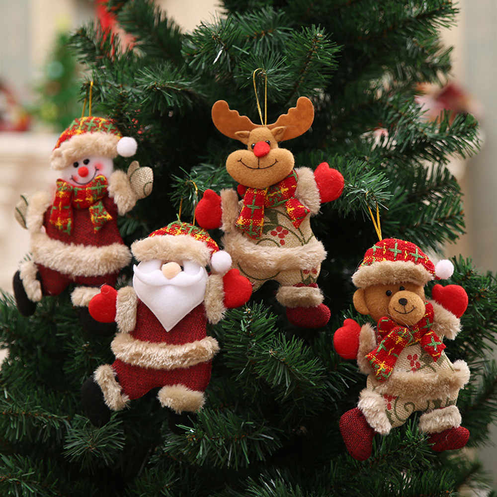 Merry Christmas Ornaments Christmas Gift For New Year Santa Claus Snowman Tree Toy Doll Hang Decorations for home #30