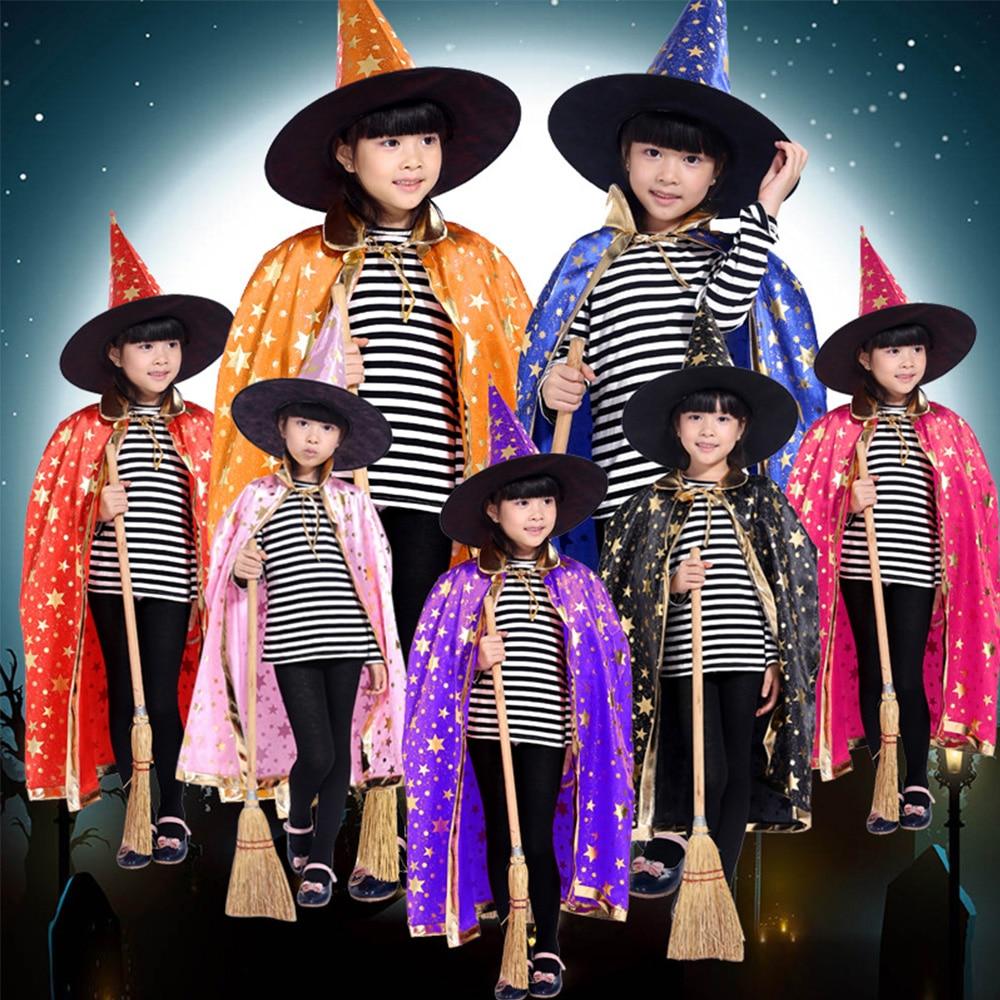 1 pc Halloween Cosplay Stars Cloak Pumpkin Cloak Hat Sets Performance Clothes Witch Cloak Caps Children Boys Girls Costumes