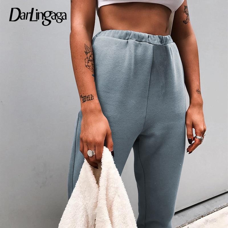 Darlingaga Casual Loose Solid Sweatpants Winter High Waist   Pants   100% Cotton Trousers Baggy Harm   Pants   Women   Capris   Bottom 2019