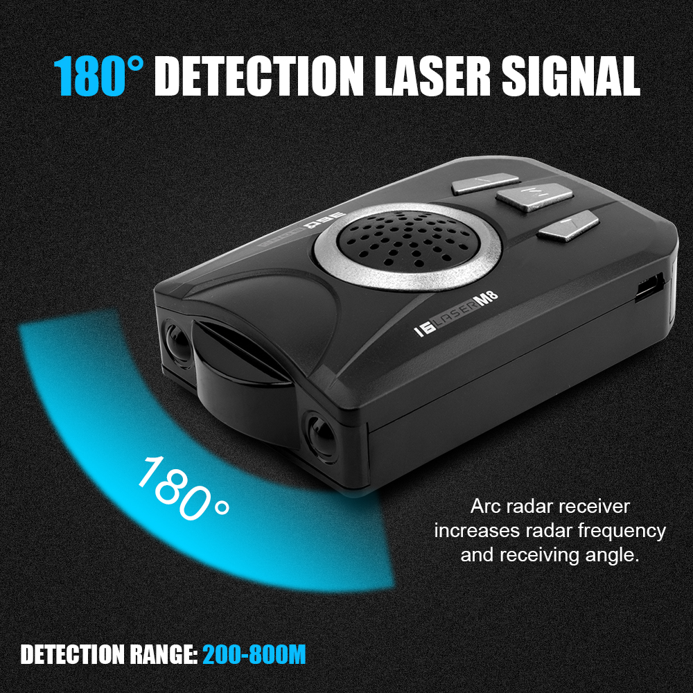 Image 2 - BORUiT Universal Car Radar Detector M8 Full Band Scanning Car Radar Voice Alert Warning Speed Control Detector-in Radar Detectors from Automobiles & Motorcycles
