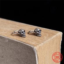 Skull Earrings Piercing 925-Sterling-Silver Gothic Fashion MKENDN Punk Men for Pop-Style