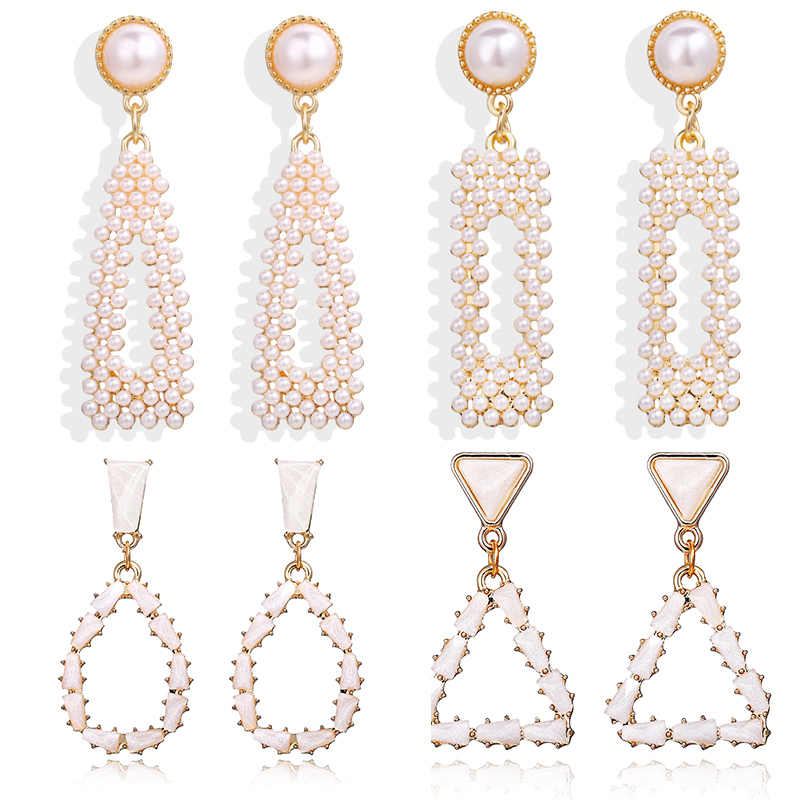 IF YOU Korean Fashion Pearl Geometric Dangle Earring For Women Round Heart Gold Color Fashion Drop Earrings Jewelry 2019 New