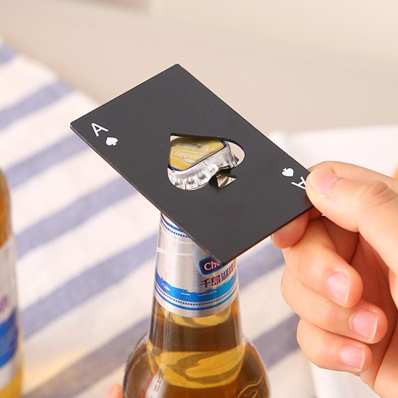 Beer Opener Card Multifunction Pocket Tool Stainless Steel Opener Card Beer Spade Poker Gear Bottle Gadget Multitool Bar Tools(China)
