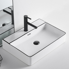 Counter Basin Faucet Bowls Vessel-Sink Ceramics White Art Black with Kitchen Square Above