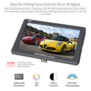 Image 3 - FEELWORLD P7 7 אינץ IPS 2200nit Ultra בהיר מצלמה שדה צג 4K HDMI DSLR צג אלומיניום דיור עם סוללה DC פלט