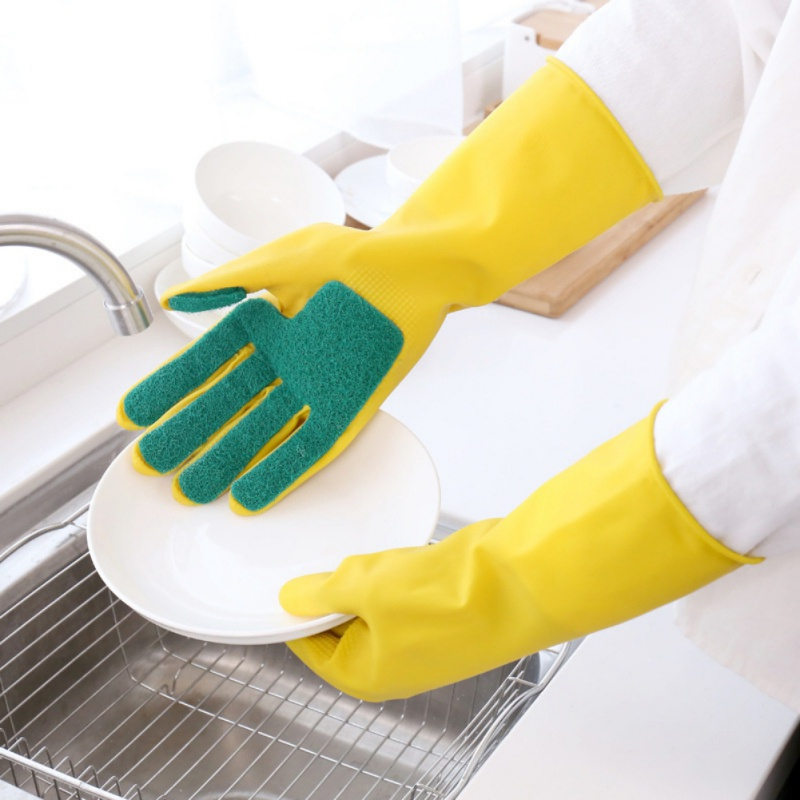 Home Washing Cleaning <font><b>Gloves</b></font> Magic Silicone <font><b>Dishwashing</b></font> Scrubber Dish Washing Sponge Rubber Scrub <font><b>Gloves</b></font> Kitchen Cleaning 1 Pair image