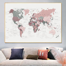 Карта мира Румяна Розовый и охотничий зеленый холст картины