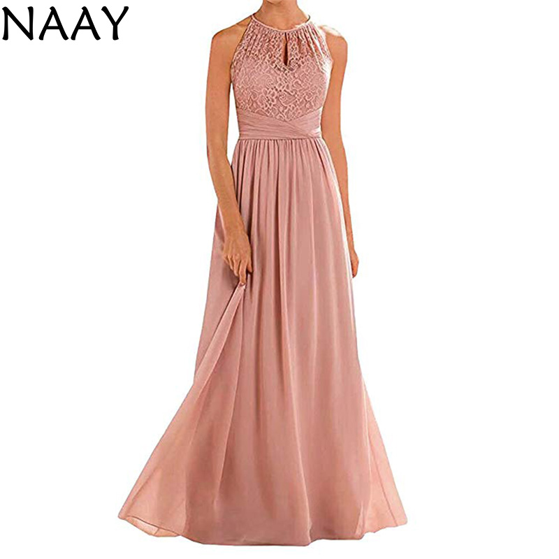 NAAY A-Line Floor-Length Prom Dress 2020 Long Vestidos De Fiesta Largos Elegantes De Gala Sexy Halter Neck Evening Party Dresse