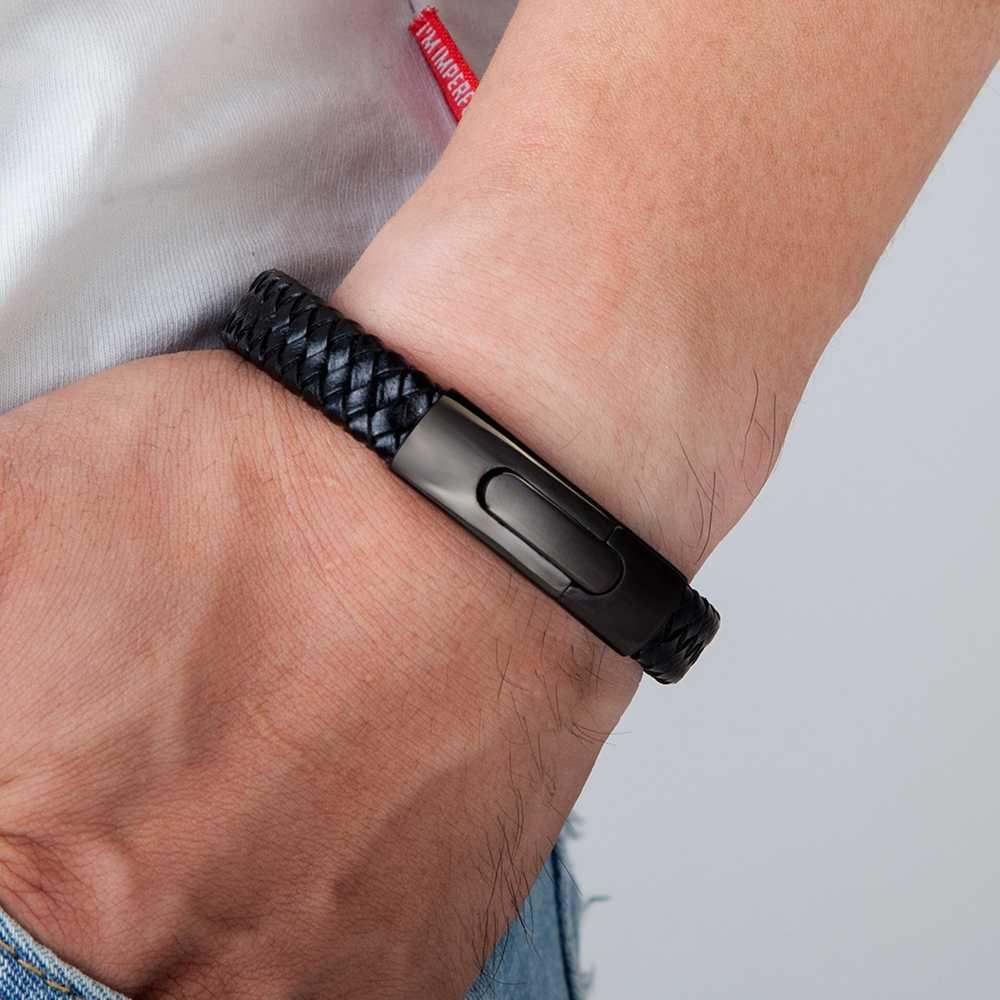 Pulsera de cuero tejida a mano con accesorios multicolores combinada con botones de acero inoxidable para hombre como regalo estándar 11,11