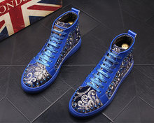 2020 NEW Men Fashion Casual Ankle Boots BLue sequins Rivets Luxury Brand High Top Sneakers Male High-top Punk rock Style Shoes(China)