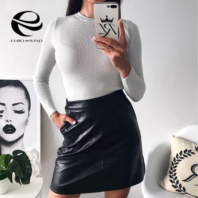 Womens Sweaters 2019 Winter Shiny Lurex Autumn Winter Sweater Women Long Sleeve Pullover Women Tops Basic Christmas Sweater Pull