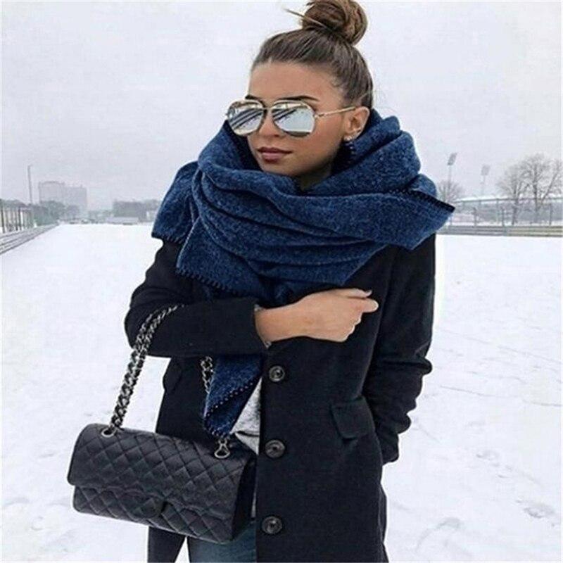 2020 зимний теплый большой шарф, винтажный флисовый женский шарф, повседневная ветрозащитная одноцветная шаль, шарфы 176 см