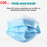 100Pcs Disposable Mask bacterial Nonwove 3 Layer Ply Filter Mouth Face Mask Dust BFE95 Meltblown Mouth Masks
