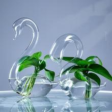 Creative Glass Love Swan Vase Wedding Gift Home New House Decoration Crafts Decorative Vases Ceramic Office Decor Europe