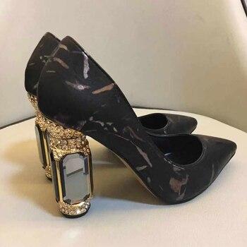 Розовые туфли лодочки на квадратном каблуке со стразами, без застежек, с острым носком, вечерние туфли на высоком каблуке