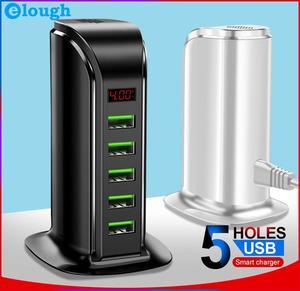 Image 1 - Elough 5 Port USB Ladegerät HUB Led anzeige Multi USB Ladestation Dock Universal Handy Desktop Wand Startseite EU UNS UK Stecker