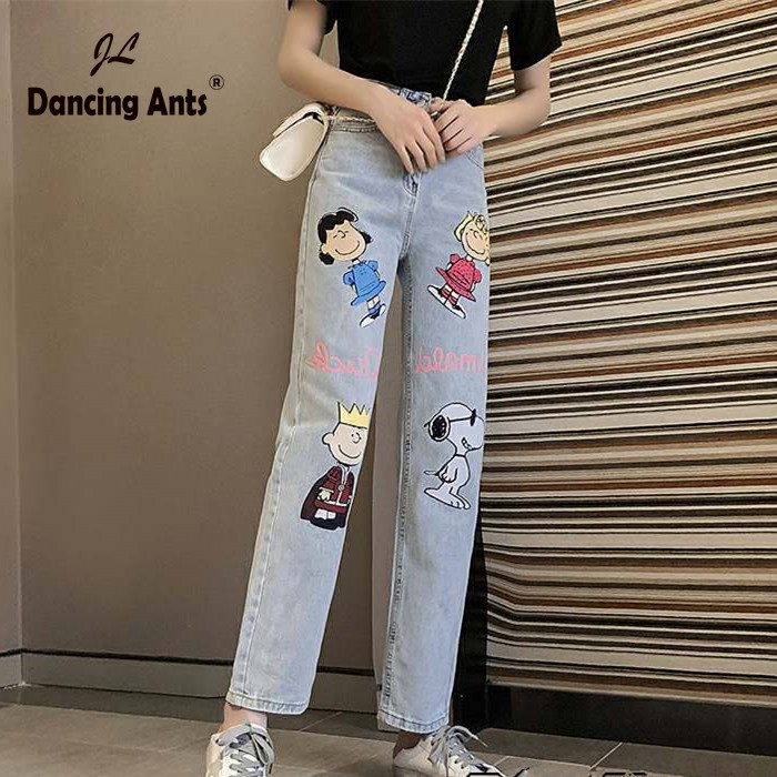 Jeans For Woman Denim High Waist Women Mom Jeans Ankle-Length Cartoon Print Pant Plus Size  Ropa Mujer Straight Korean Style