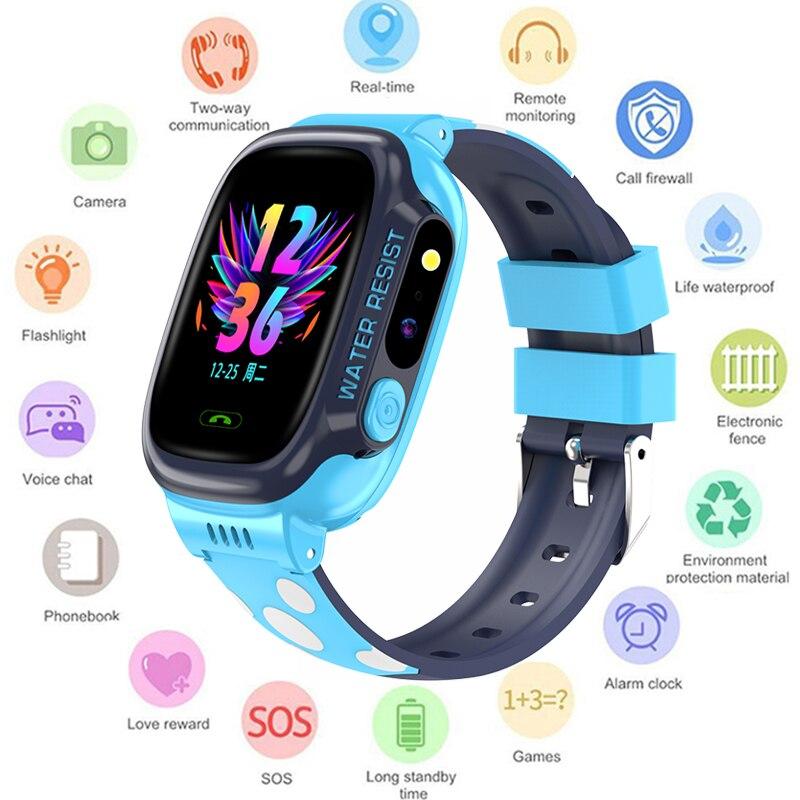 GEJIAN 子供腕時計 IPX7 防水タッチスクリーン SOS 携帯電話の通話デバイス GPS 測位トラッカー抗失わ子供の時計 -