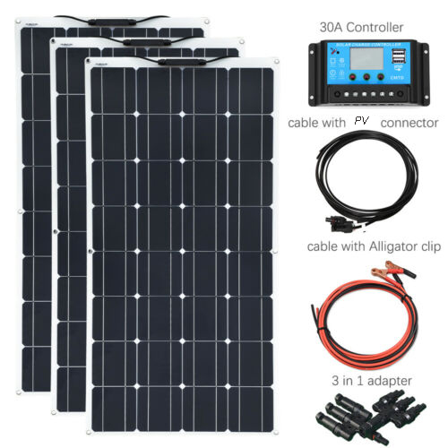 BOGUANG 3pcs 100 W solar panel 300 w DIY kit cell power energy system solar panels 300 watt Modules with 30A Controller Connect image