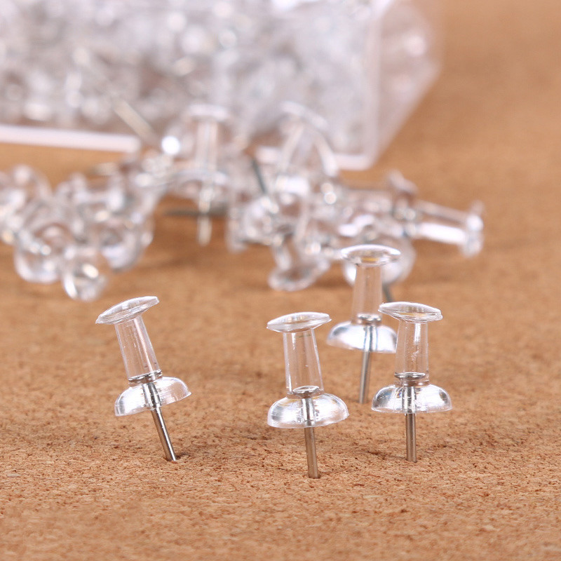 200pcs Plastic Clear Push Pins Transparent Decorative Thumbtacks Thumb Tacks Drawing Pin Cork Board Pins Stationery Supplies