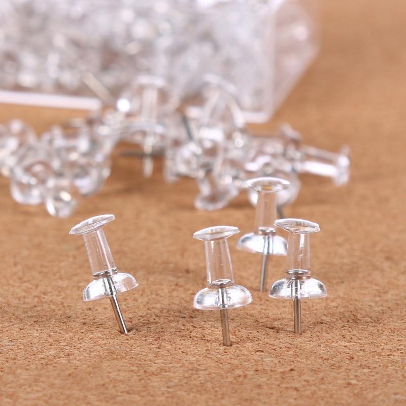 200pcs Plastic Clear Push Pins Transparent Decorative Thumbtacks Thumb Tacks Drawing Pin Cork Board Pins Stationery Supplies