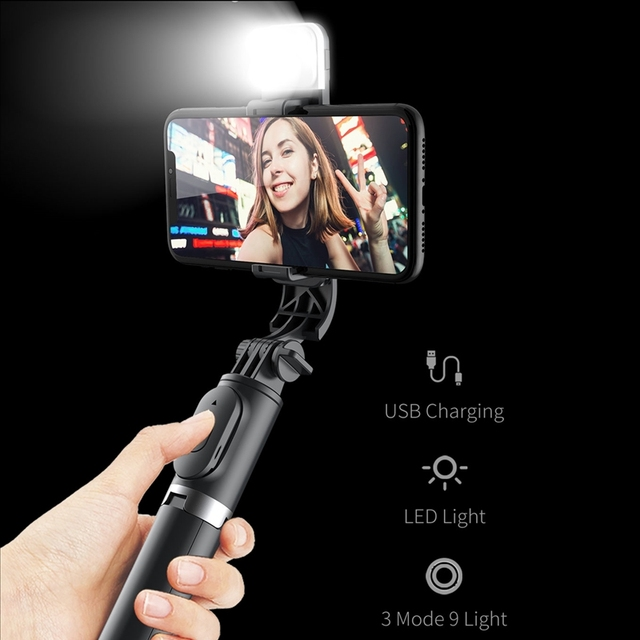 Roreta 2021 NEW 4 in 1 Wireless Bluetooth Selfie Stick With Tripod Foldable monopods universal for Smartphone Hot 4
