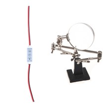 1Pcs Magnifying Glass Third Hand Soldering Soldering Iron Stand Helping Magnifying Tool with a Silver Clip & 1Pcs LED Dimmer 12a(China)