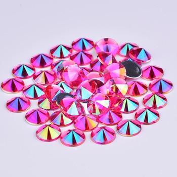 JUNAO 4 5 6 10 mm Glitter Purple AB Face Rhinestones Flat Back Acrylic Stones Rivoli Crystal Applique Nail Art Decoration 5