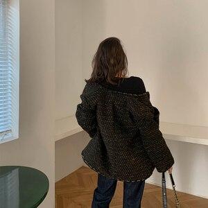 Image 5 - Vintage Black Tweed Jacket 2019 New Autumn Winter Fashionable Woolen Elegant OL Female Coat