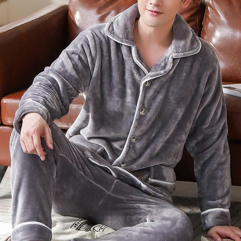 Winter Men Casual Kimono Bathrobe Thick Warm Flannel Long Robe Sleepwear Plus Size Loose Nightgown Male Solid Nightwear Homewear