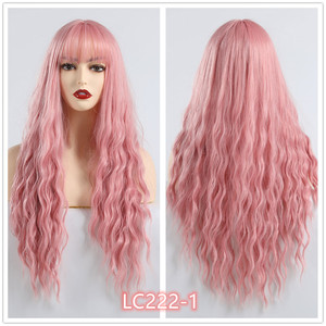 Image 2 - EASIHAIR Long Wave Blue Synthetic Wigs With Bangs Cosplay Wigs for Black White Women 8 Colors Heat Resistant Fake Hair