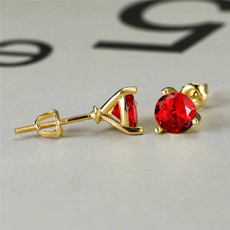 7MM Round Red Crystal Zircon Spiral Stud Earring Vintage Fashion Yellow Gold Multicolor Stone Earrings For Women Wedding Jewelry