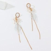Women's Earrings Personality Elegant Silver Color Leaf Shape Pendant Fringed Long Drop Earrings Female Jewelry Gifts fashion leaf silver earrings basho shape earrings